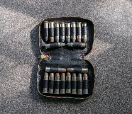 Bullets two types in leather case