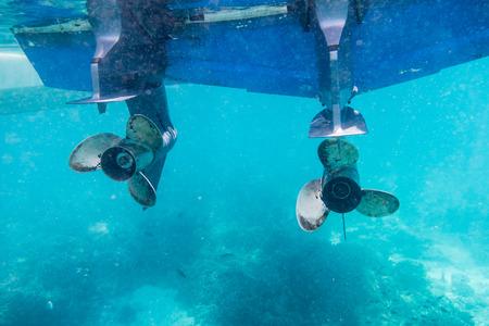 Engine speedboat propeller parked in the sea