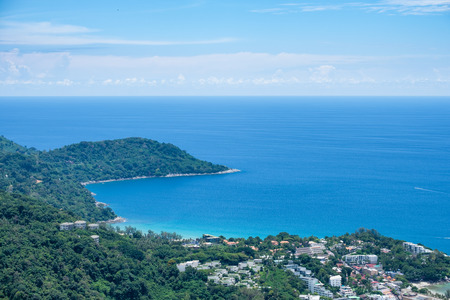 Viewpoint landscape above city and sea at phuket Stock Photo
