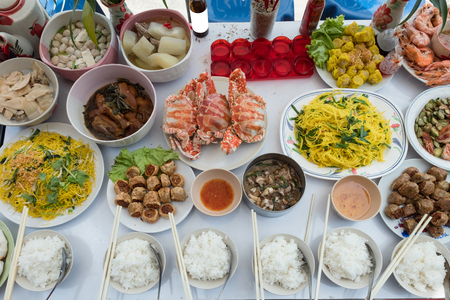 Celebration of Chinese culture ancestors and god with various foods meat, desserts and beverage