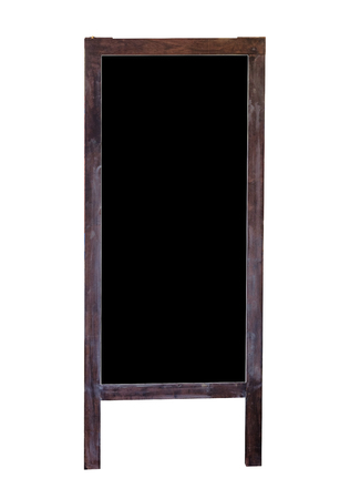 Wood blank blackboard stand, Isolated on white background