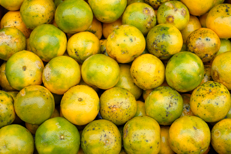 Orange fruits soiled organic stacked on wood crate in grocery rural