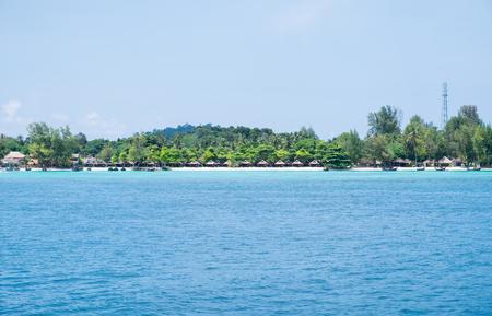 Blue sea with resort,most abundant coral reef at lipe island,thailand