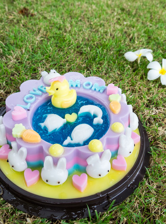 Jelly cake decorate with cartoon animal celebrate for mothers day on grass
