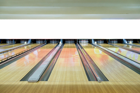 Bowling sport recreation with bowling pin in wood alley