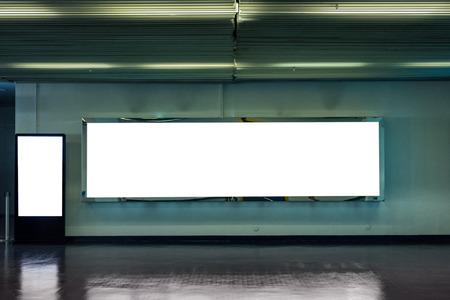 Blank large billboard with digital mock-up signboard in corridor Stock Photo