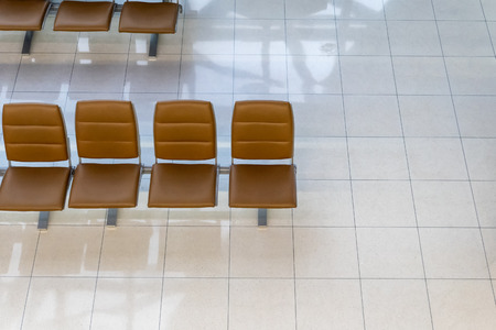 Above of rows empty chair in terminal gate at the airport Imagens