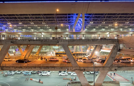 Bangkok,Thailand - Oct 02 2015 : Traffic jams the front Suvarnabhumi Airport at night