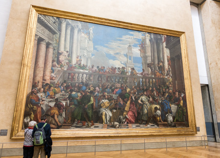 Paris,France - Nov 10 2016 : Tourist come to see historical christian picture in versailles palace