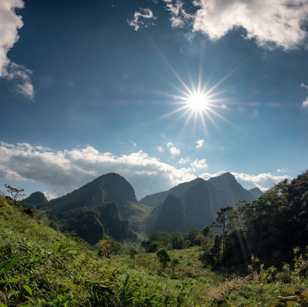 Mountain range in tropical rainforest with sunshine at Wildlife sanctuary, Doi Luang Chiang Dao national park