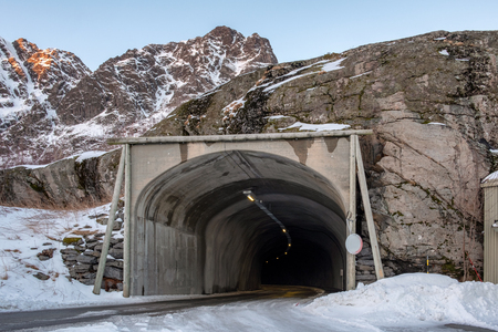 Tunnel excavated through a large mountain at norway