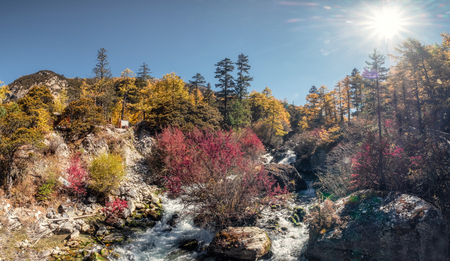 Panorama of Beautiful waterfall in autumn forest at sunny. Yading nature reserve