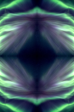 Abstract of Green northern lights reflection in galaxy