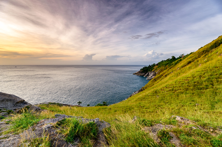 Green hill with horizon sea on coastline at Krating cape, Phuket