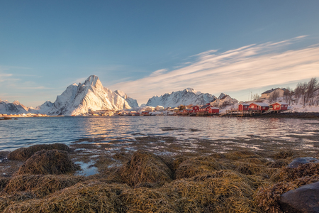 Fishing village with snow mountain on coastline in the morning