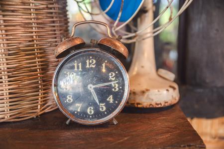 Retro alarm clock decorative on hardwood table