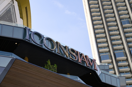 Bangkok, Thailand - Jan 31 2019 : Large project of Icon siam department store with condominium at Chao Phraya riverside