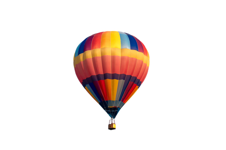 Colorful hot air balloon flying on white background