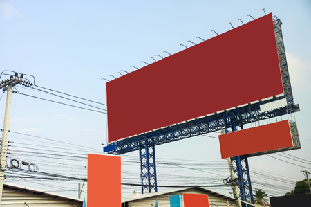 Blank large billboard with placard with wire electricity in center market