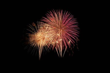 Colorful fireworks explosion in annual festival on background