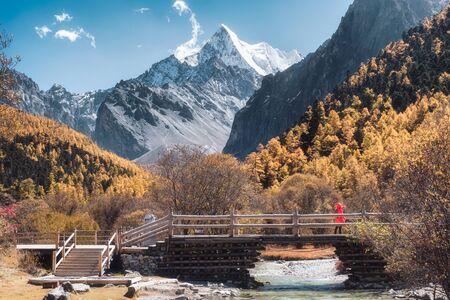 Holy Chana Dorje mountain in autumn pine forest with wooden bridge at Shangri-La, Yading Reklamní fotografie