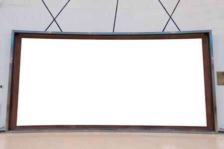 Large empty curved billboard on striped wall in hall Reklamní fotografie
