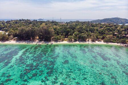 Above view of emerald tropical sea with coral reef and the beach in lipe island Reklamní fotografie