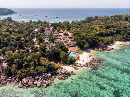 Aerial view of resort on hill in tropical sea at lipe island 版權商用圖片