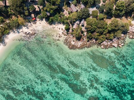 Aerial view of resort on hill with coral reef in tropical sea at lipe island Stok Fotoğraf