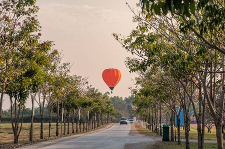 Car driving on road in tunnel trees with hot air balloon flying in annual festive