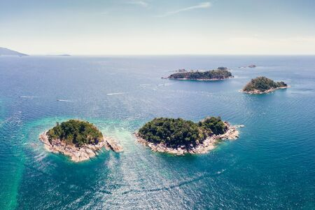 Aerial view Scenery of Lipe island with archipelago in tropical sea on summer