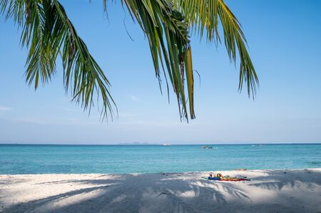 Empty white beach with coconut palm leaf in tropical sea