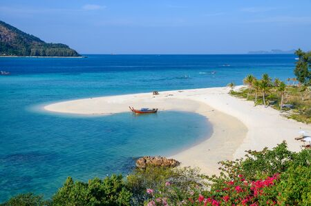 Viewpoint of white sand beach or Karma beach in tropical sea at Lipe island