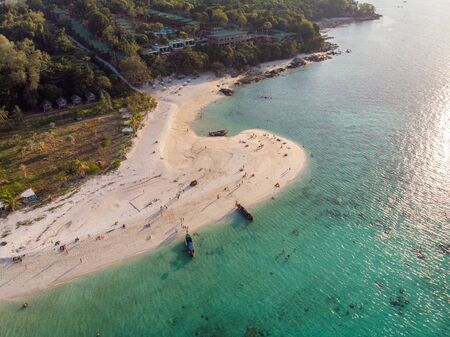 Aerial view of wooden long-tail boat on tropical sea and the beach at lipe island Reklamní fotografie