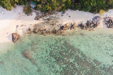 Aerial view of coastline with tropical sea on lipe island