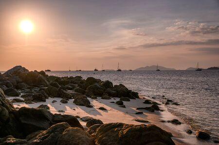 Tropical sea with rocks on coastline at sunset in lipe island Reklamní fotografie