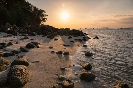 Seascape with rocks on coastline in tropical sea on sunset at Lipe island Reklamní fotografie