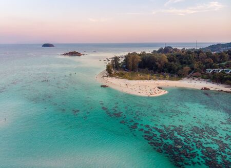 Aerial view of Tropical sea with white beach and coral reef at Lipe island