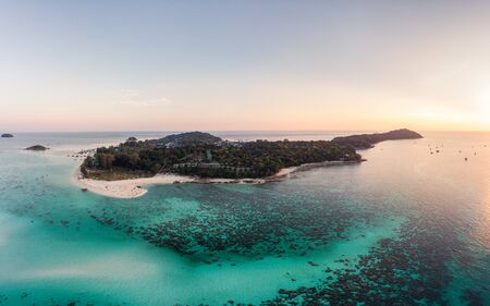 Aerial view Scenery of Lipe island with coral reef in tropical sea at sunset Reklamní fotografie