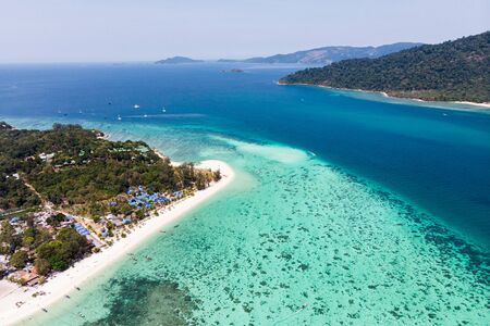 Aerial view Scenery of Lipe island with coral reef in tropical sea on summer