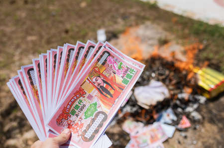 Paper bank for burning is belief for respect of ancestor chinese in qingming festival Stok Fotoğraf