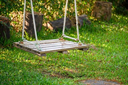 Wooden swing hanging on lawn Reklamní fotografie - 134790671