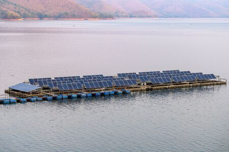 Solar cell system panel a renewable power floating on dam