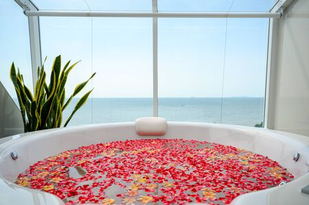 Luxury bathtub with colorful flower in water with sea and sky view Reklamní fotografie - 134791364