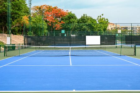 Whole blue tennis court, synthetic rubber field
