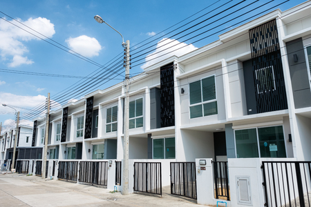 Bangkok, Thailand - June 30 2018 : Village project for sale of modern white townhouse 2 floors with fence in Bang Yai Redakční