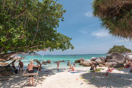 Satun, Thailand - Feb 23 2019 : Foreigner tourists travelling in vacation on andaman sea at lipe island Reklamní fotografie - 134758933