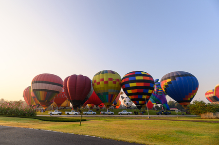 Chiang Rai, Thailand - Feb 14 2019 : Annual international balloon festival in signha park at morning
