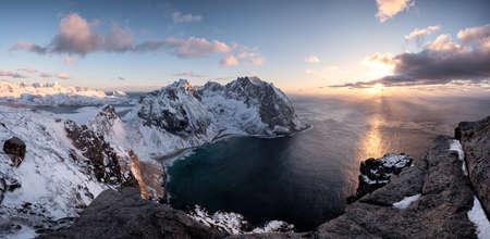 Panorama of Ryten mountain on coastline at sunset in Lofoten Island, Norway