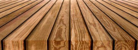 Brown wooden striped table top texture background Foto de archivo